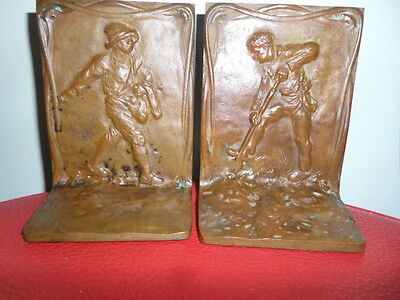 Antique Bronze Griffoul Country Farmer Planting  Sculpture Bookends Signed