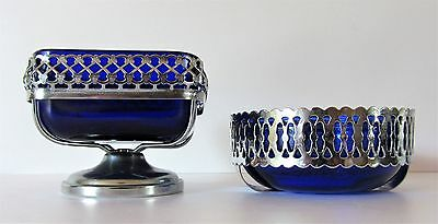 2 Vintage / Retro Chromium Plated Bowls With Cobalt Blue Glass Liners