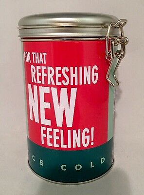 """Coca Cola Round Tin Can """"For That Refreshing New Feeling"""" Ice Cold"""