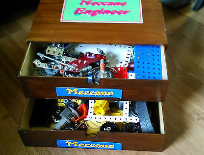 Meccano with working motor plates strips nuts bolts and other parts +box