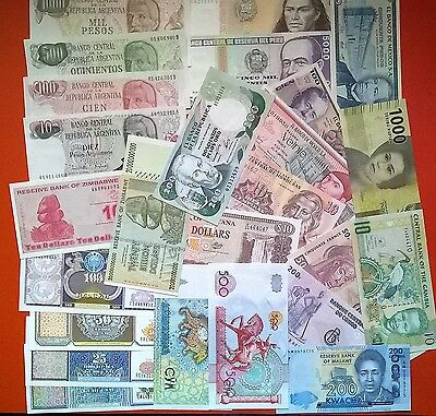 World Lot Of 25 Different Foreign Banknotes