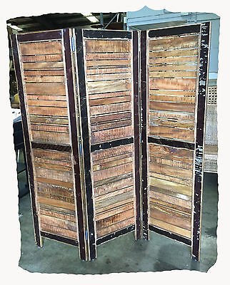 Scrap Recycled Hardwood 3 Panel Timber Screen - BRAND  NEW