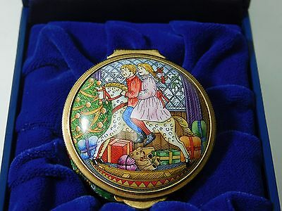 Handpainted Halcyon Days Enamels Christmas 1994 Box Signed Anthony Warren