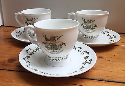 Lovely Official HENDRICK'S GIN Trio of TEA CUPS & Saucers  RARE Limited Edition
