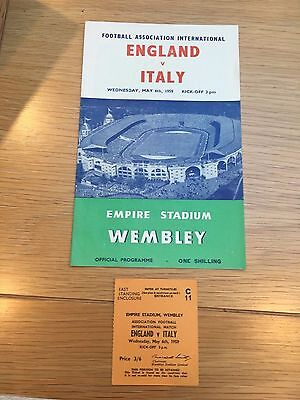 England V Italy, Wembley, with match ticket 1959