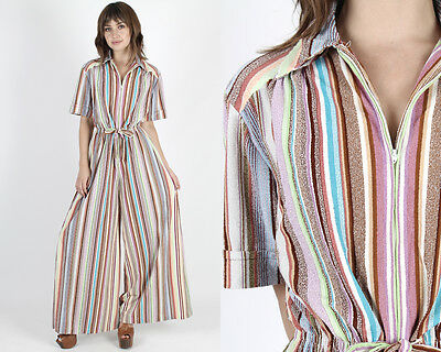 Vintage 70s Terry Striped Jumpsuit Disco Lounge Boho Hippie Coverall Playsuit L