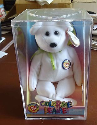 TY Beanie Baby - Color Me Beanie - Bear with Green Ribbon - Rare / Retired - NEW