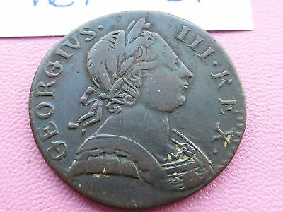George 111 Half Penny Coin Good Grade   1775           Ref 031