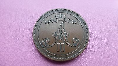 Finland 10 Pennia coin 1865 good grade     Ref 629         reduced