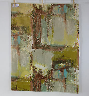 vintage 1950s abstract art screenprint cotton interiors fabric piece
