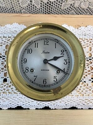 Vintage CHELSEA BOSTON SHIPSTRIKE Solid Brass Nautical Ship Clock, w/ Windup Key