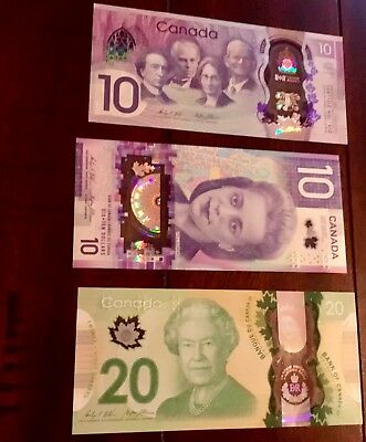 Canada $10 polymer change over Bank Notes UNC only 7,182 k printed