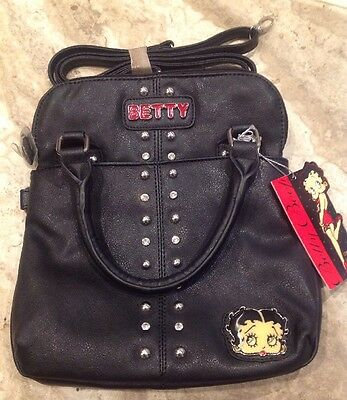 New Betty Boop Women Messenger Crossbody Bag Purse Black Rhinestone