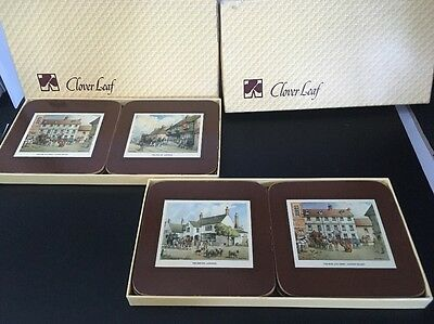 2 X VINTAGE SETS OF COASTERS BY CLOVER LEAF OLD COACHING Inns