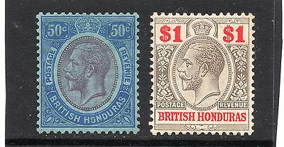 British Honduras 1923 50c & $1 SG 134 & 136 mint. Cat £31