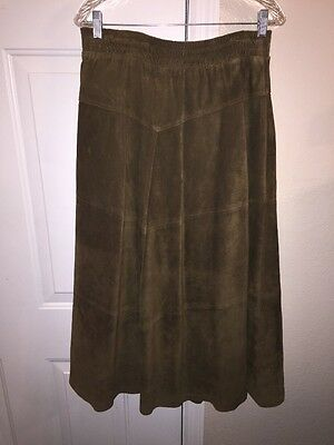 Intuitions Sport Women's 100% leather long skirt Brown Size Small