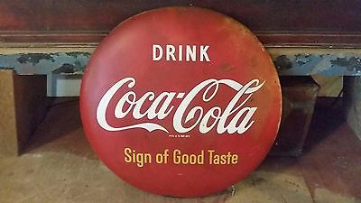"Rare 1950s Vintage 24"" Drink Coca-Cola Button Sign - Sign of Good Taste"