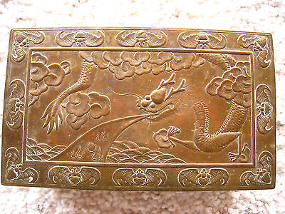 Antique Chinese Hinged Brass Box Ming Style With Dragon on Lid Asian Wood Inside