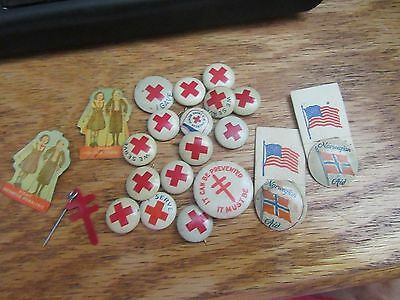 Mixed  Lot Of 20 Vintage Red Cross*service*aid*support*pin Back Buttons