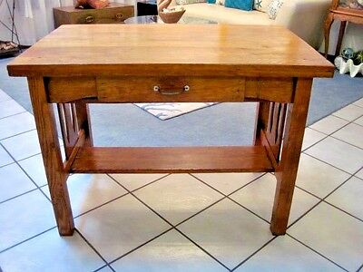 ANTIQUE 1900s VINTAGE CRAFTSMAN MISSION OAK HEAVY WOOD LIBRARY DESK TABLE OFFICE