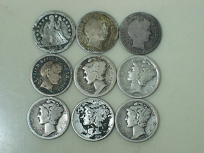 9 Very Low Mintage Liberty Seated Barber Mercury Dimes 1843 1926D 1927D 1928S
