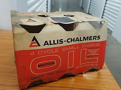 Vintage Allis Chalmers 4 Cycle Motor Oil Metal Can carboard container 6 pack