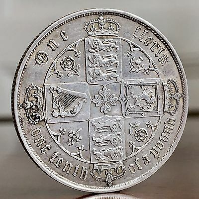 Victoria, Gothic Type Florin, Two Shillings, 1878. Die Number Double Struck.