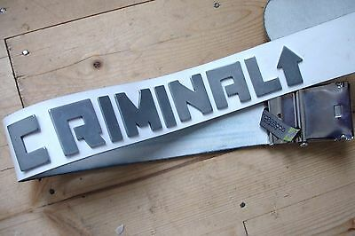 """Unisex Thick White Leather """"criminal"""" Belt With Metal Criminal Letters, Buckle"""