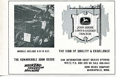 1966 Print Ad of John Deere Lawn & Garden Tractor dealer sign of quality