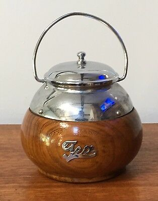 Vintage Wooden Tea Caddy Silver Plate And Liner