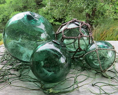 Japanese Fishing Float (4) Blown Glass EMERALD GREEN Mixed Sizes Net FOUR Vntg