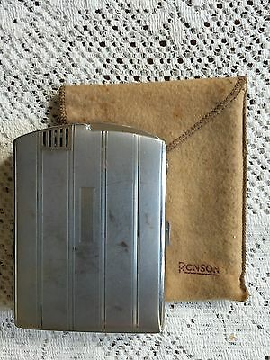VTG Ronson Art Deco Cigarette Case & Lighter Combo Chrome Art Metal Works USA