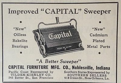 """Vintage 1930 Ad(F18)~Capital Furniture Co. Noblesville, Ind. """"capital"""" Sweeper"""