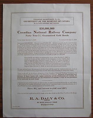 Rare 1929 Canadian National Railway 40 Year Gold Bond Issue 5% $30,000,000 Cnr