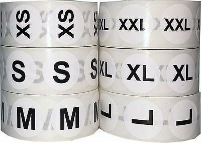 White Circle Clothing Size Stickers, 3/4 Inch Round, 500 Total, Sizes XXS - 5X