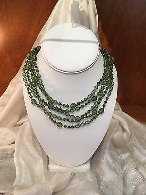 Signed Vintage 1960s Miriam Haskell Necklace of Emerald Crystals