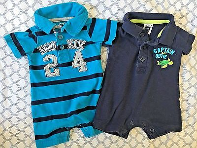 EUC Lot of 2 NEWBORN INFANT BABY BOY CARTERS ONE PIECE POLO ROMPERS - Size NB