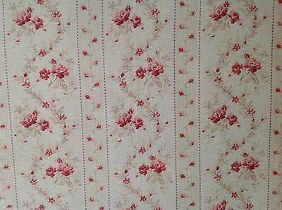 Antique French Shabby Pink Roses & Garland Cotton Fabric