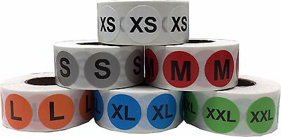 Color Circle Clothing Size Stickers, 3/4 Inch Round, 500 Total, Sizes XS - XXL
