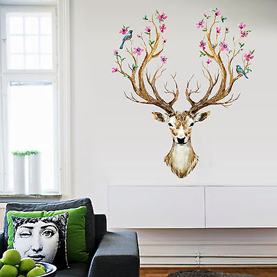 Be Removable Wall Sticker Sika Deer Flower Bird Tree Animal Mural Decal Home New
