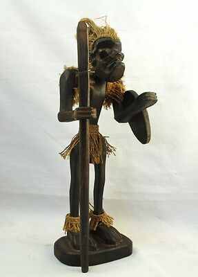 Hand Carved Hapa Wood Figurine - Hawaian Tiki Warrior With Spear