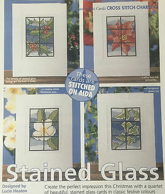 CROSS STITCH CHART 4 Flower Cards Stained Glass Floral Designs PATTERN ONLY