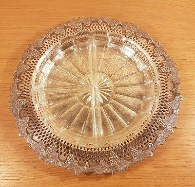 """Lovely Silver Plated Tray on Copper Marked """"Sheffield Reproduction"""" R"""