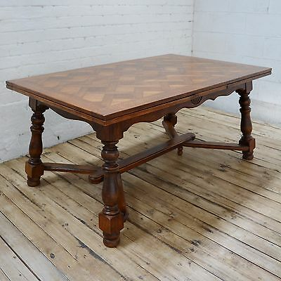 6 - 10 Seater Refectory Antique French Oak Parquetry Extending Dining Table