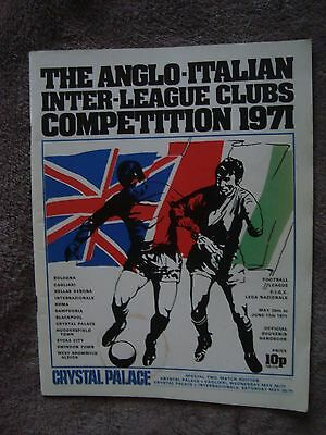 Anglo Italian Cup Programme 1971 - Crystal Palace V Cagliari & Internazionale