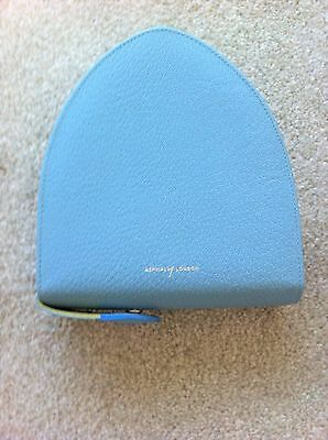 ASPINAL of London Pale Blue Textured Leather CD / DVD Storage Zip Case
