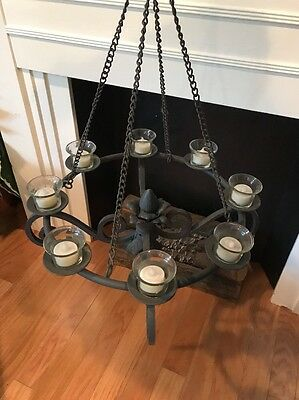 Antique Cast Iron Mission Style Arts Chandelier