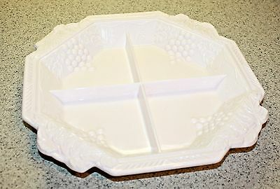 "1957 Jeanette Glass ""shell Pink Milk Glass"" 12"" Vineyard Octagonal Tray"