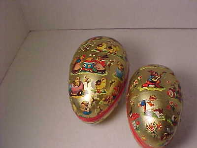 2 Vintage Paper Mache Easter Egg Candy Containers Western Germany