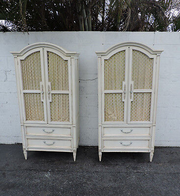 Pair of French Carved Painted Armoires by Basic Witz 8369X